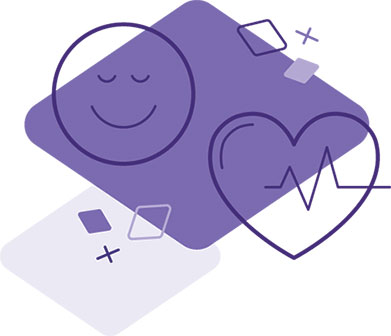 Purple diamond with illustration of right to health including a heart and happy face