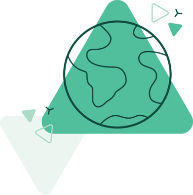 Green triangle with illustration of right to a healthy environment including a picture of planet Earth