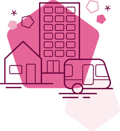 Pink pentagon with illustration of right to housing including a house, block of flats & a caravan